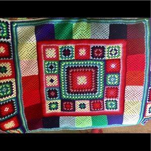 Vintage Rainbow Granny Square Crochet Blanket Boho